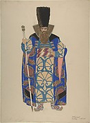 Costume Study for a Robed, Bearded Boyar with Staff
