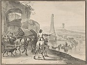 Travellers and wagons fording a river in a Southern landscape