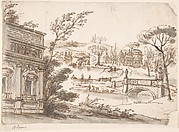 Classical Landscape with Temples (recto); Indecipherable sketch, possibly of a seated figure (verso)