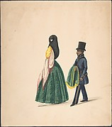 A Woman, Followed by Her Servant