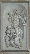 Allegorical Figures of Faith, Hope and Charity in a Niche
