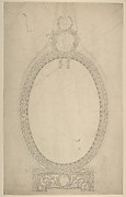 Design for a Girandole Mirror, an Oval Resting on an Oblong Base, Terminated by Two Superimposed Circular Frond-motifs, Topped with a Lion's Head from Which Hang Floral Swags and Pendants