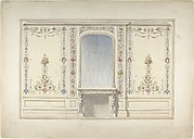 Elevation of Fireplace Wall in an Elizabethan Revival Room