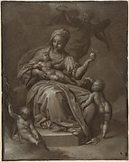 Recto: Virgin and Child, and Saint John the Baptist; Verso: summary sketches, possibly the Virgin and Child