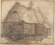 A Farm Building; verso: Head of a Woman and Slight Sketch of Woman Holding a Child