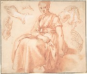 Study of a Seated Woman and Five Studies of Hands; Verso: Landscape with a Road and a Tree to the Right