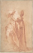 Study of a Headless Draped Figure with Arms Crossed Verso: Figure of a Man in a Voluminous robe, Seen from Behind
