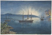 The Bay of Bull Arms, Trinity Bay, Newfoundland, bonfires lighted on the hills to notify of the arrival of the cable fleet on August 5th, 1858