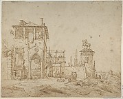 Fanciful Landscape (Landscape with Villa Building and Equestrian Monument)