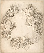 Design for a Ceiling Decoration: A Gathering of Mythological Figures (recto); Dancing Satyr and Two Seated Figures (verso)