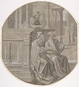Mordecai overhears the two Conspirators plotting against the  King.