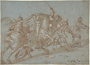 Classical Battle Scene; Verso: Peter and John Heal a Cripple at the Gate of the Temple