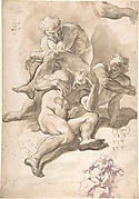 Studies of Three Naked Men, a Right Arm and a Nude Figure Supported by Another (recto); Studies of a Figure with Left Arm Upraised, a Leg, and Putti with Foliage (verso)