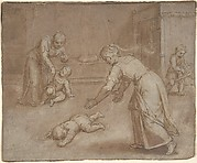 Two women and three children in an interior