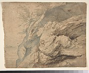 Study of the Side of a Rocky Cliff (recto); Dam on a Mountain Stream (verso)