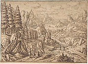 Mountainous Landscape with Travelers on a Road