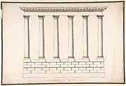 Ionic Colonnade (6 Columns) on Rusticated Base