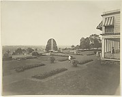 Porch and Formal Garden, with Fountain (possibly Dongan Hills, S. I.)