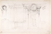 Architectural Sketch for the design of a Wall with Doorway, with two smaller sketches for the design of windows or doorways (recto); Sketches for a plan and partial perspective view of ceiling (verso)