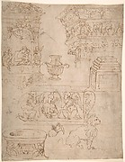 Sheet of Studies of Sculptural Elements and Architectural Ornaments