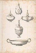 Design for Shallow Two Handled Dish and Four Perfume Bottles
