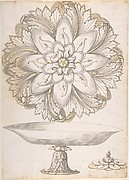 Design for Single Footed Dish with Cover Shaped like Flower and Foliage