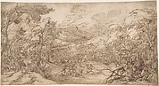 Wooded Landscape with Stag Hunt