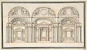 Section of a Basilica (Recto); Floor Plan with Columns (Verso)