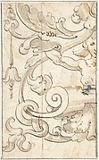 Fragment of Ornamental Drawing after the Antique; Half-harpy with Acanthus Rinceaux