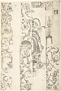 Sheet with Various Studies of Candelabra Grotesques, Foliage and a Cartouche