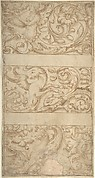 Antique-Style Ornament Frieze Design: Rinceaux with Grotesque Figures and Animals