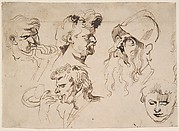 Sheet of Studies of Heads
