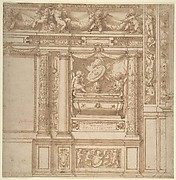 Design for Wall Decoration with a Funeral Monument Decorated with Columns and Putti Holding Garlands.