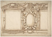Design for an Interior Wall with Pedimented Niches or Windows, Flanking a Cartouche
