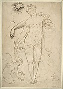 Standing Nude Female and Putto with Studies of a Hand and an Arm (recto); Satyrs destroying a Female Herm (verso)