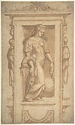 A Sibyl or Allegory of Abundance in a Niche (recto), Architectural Sketches (verso)