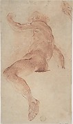 Seated Nude Male in Profile View Facing Left with Arm Raised; Fragment of Study of Right Hand