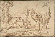 Fox With Two Herons