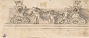 Frieze with Putti and Garland (Recto); Red Chalk Sketches (Verso)