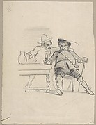 Two male figures seated at a table, drinking