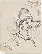Study of Head and Shoulders of Woman with Headdress