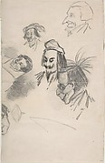 Sketches of Six Heads in Profile (caricatures?) (recto); Sketch of Head and Blank Rectangle (verso)