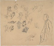 Sheet with putti and several figures