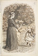 A Mother and Two Children Playing Blind Man's Bluff