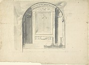 Design for a Chapel or Niche (Recto); Design for Decoration with Putto Head and Rinceau (Verso)