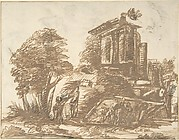 Figures in a Landscape with Classical Ruins (recto); Six Figure Studies (verso)