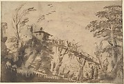 Landscape with Figures Crossing a Bridge (recto); Study of a Nude Male, Study of Legs, Study of Head in Profile to the Right (verso)
