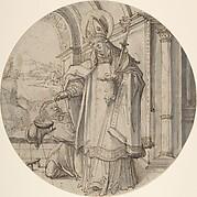 Saintly Prelate Distributing Alms