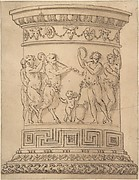 Pedestal with Relief Carving of a Bacchanal with Ornamental Borders.