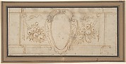 Wall Decoration with a Cartouche and Garland (recto); Ruled Lines in Red Chalk (verso)